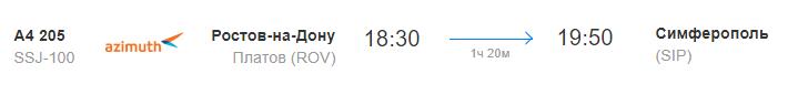 Время отправления и прибытия рейса А4 205 Ростов-на-Дону-Симферополь