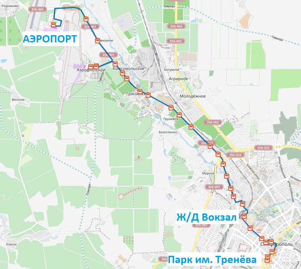 Схема движения автобуса №49а из нового терминала аэропорта в Симферополь