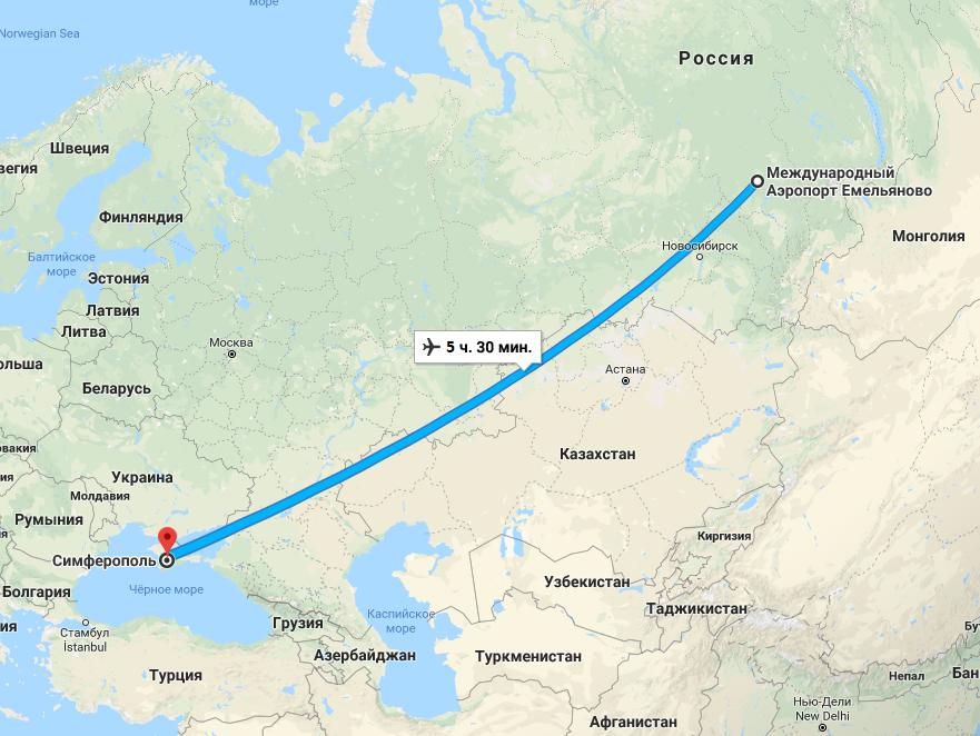 Длительность перелета Симферополь-Красноярск