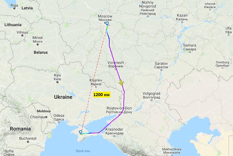 Продолжительность перелета Москва-Симферополь