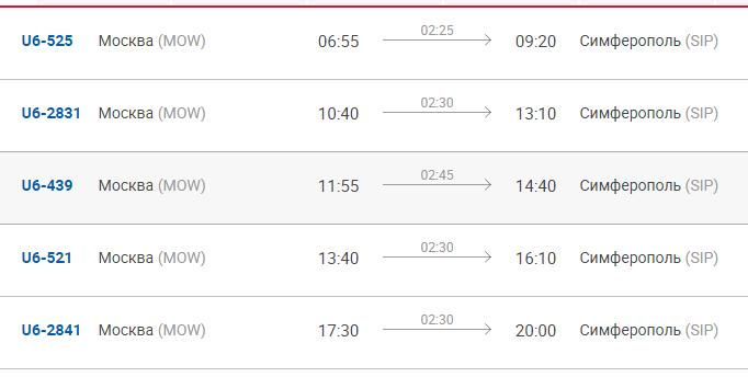 Время отправления и прибытия рейсов Москва-Симферополь Уральских авиалиний