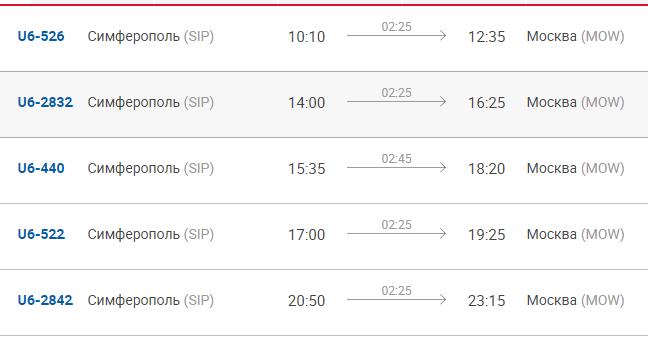 Время отправления и прибытия рейсов Симферополь-Москва Уральских авиалиний