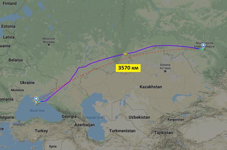 Кратчайшее расстояние между Новосибирском и Симферополем - 3570 км