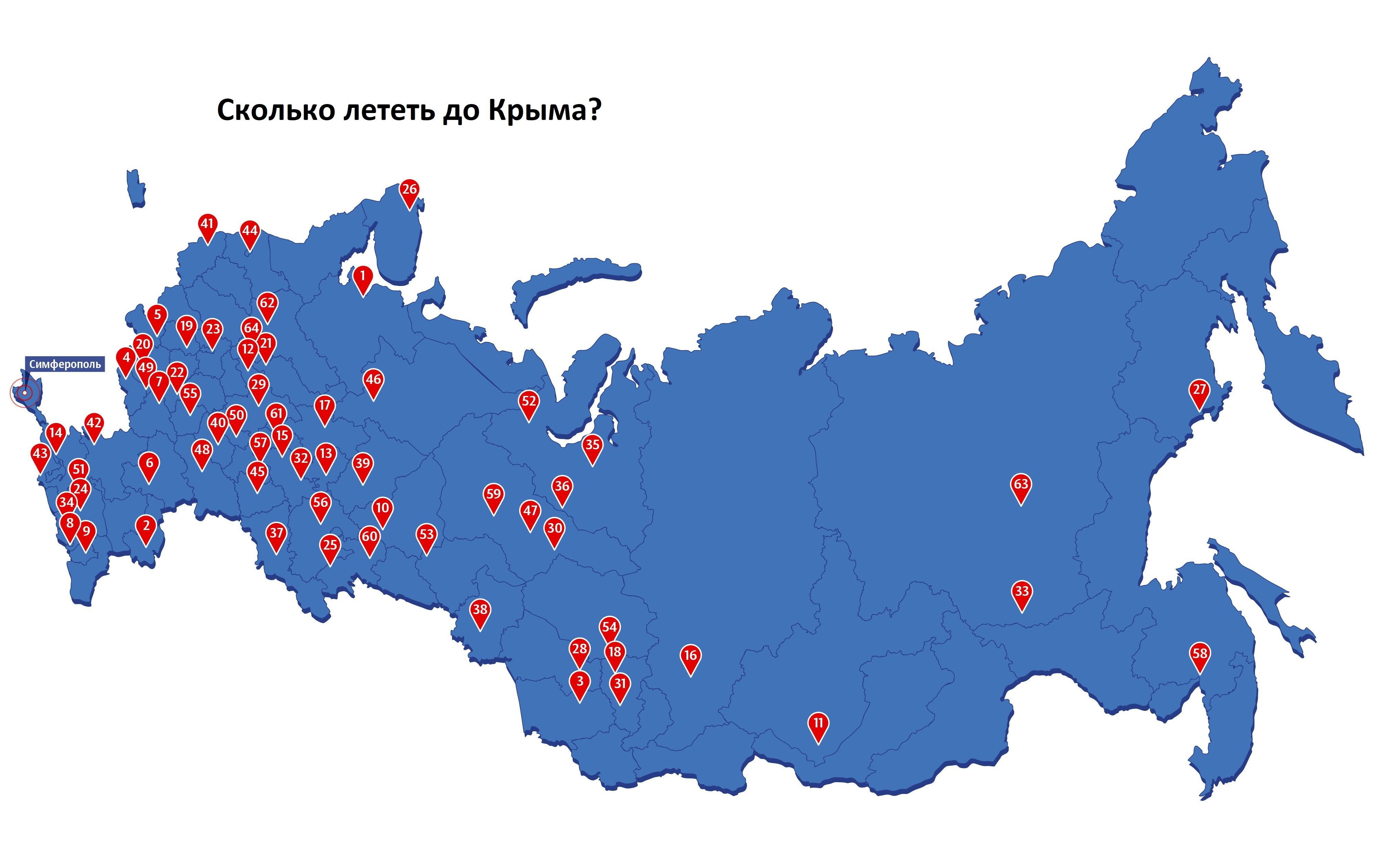 Сколько лететь до Крыма?