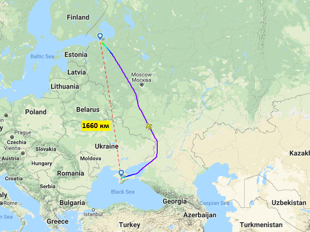 Прямые рейсы Санкт-Петербург - Симферополь