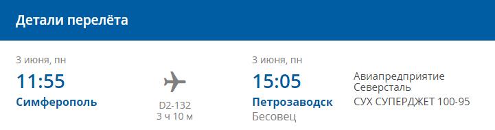 Детали рейса D2-132 Симферополь-Петрозаводск