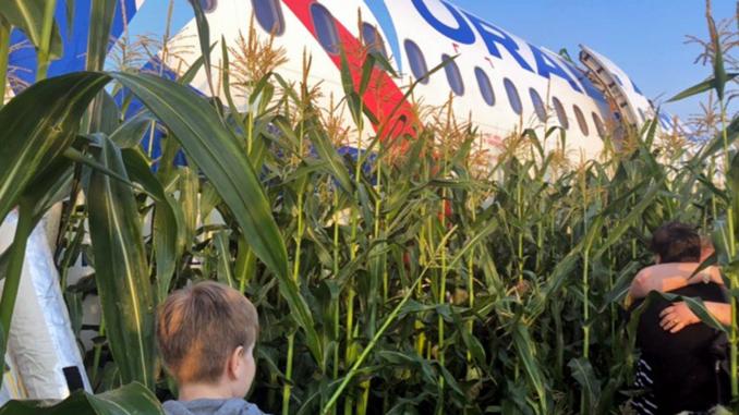 Самолет Москва-Симферополь совершил аварийную посадку в кукурузном поле